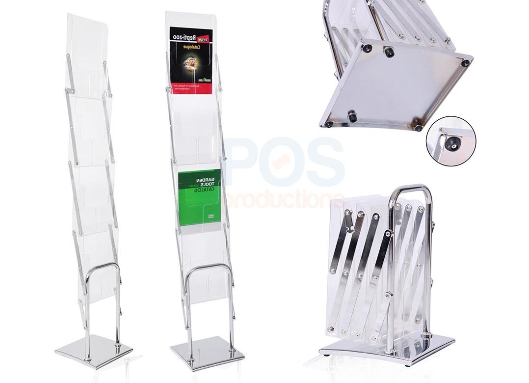 акриловая стойка для буклетов, акриловые карманы буклетница, хромированная булетница, блестящая стойка для буклетов,