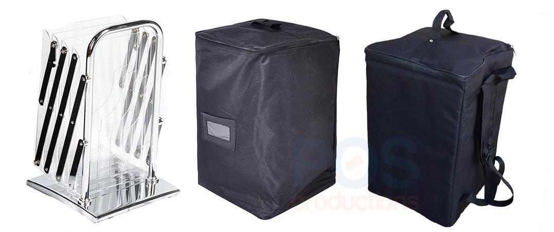 сложенная булетница, стойка для буклетов в сложном виде, сумка для буклетницы, компактная сумка, тканевая сумка