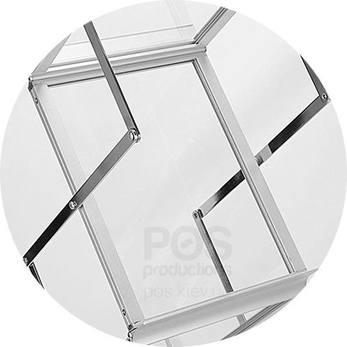 информационная булетница, акрил алюминий, красивая буклетница