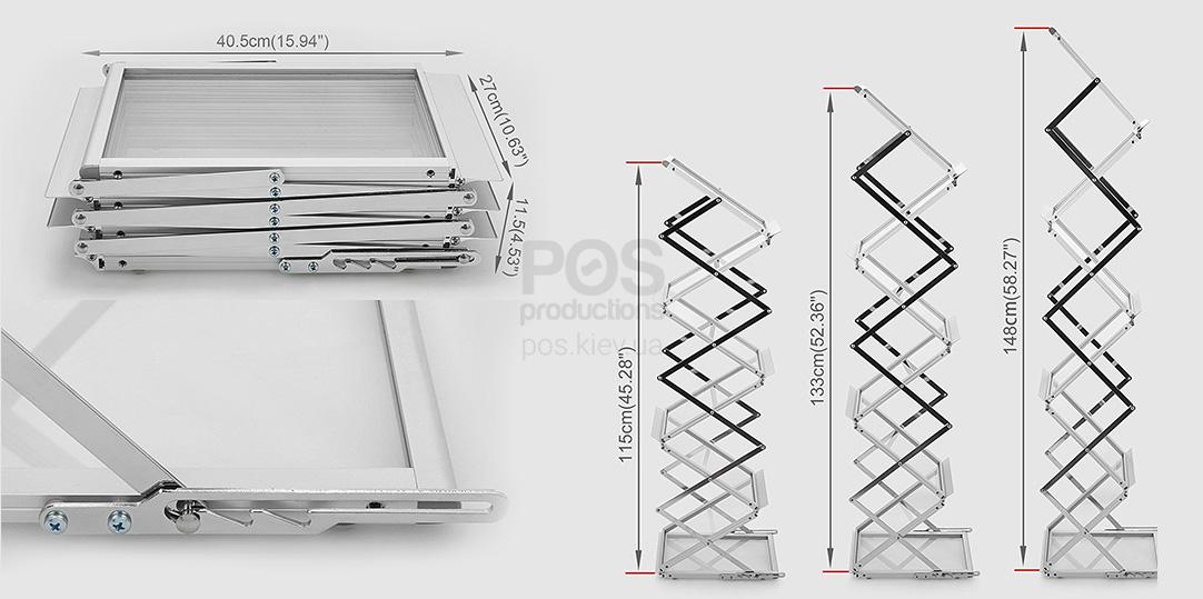 3 позиции высоты буклетницы, компактная сборка булетницы, компактный алюминиевый стенд