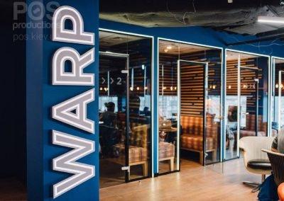 Объемные буквы с лицевой подсветкой WARP.