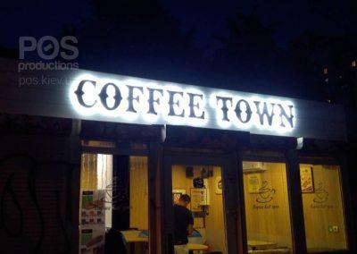 """Композитные буквы на пластиковой панели с задней подсветкой для кофейни """"Coffee Town"""""""